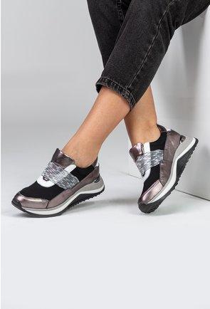 Pantofi sport din piele naturala si material textil