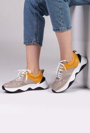 Pantofi sport din piele nuanta gri cu galben