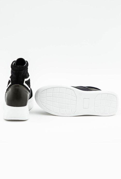 Pantofi sport kaki din piele naturala cu fermoar in partea din fata