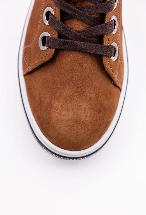 Pantofi sport  maro din piele camoscio