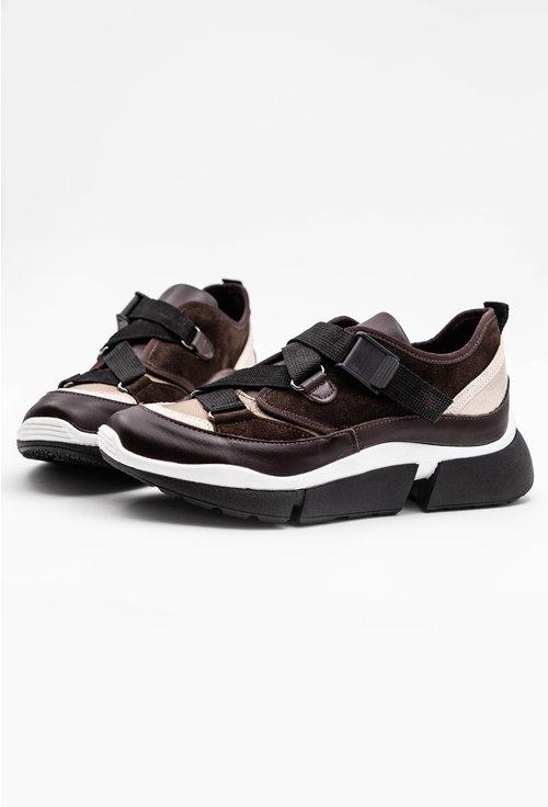 Pantofi sport maro din piele naturala intoarsa si piele naturala box