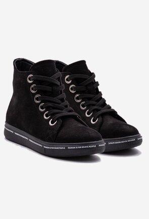 Pantofi sport negri din piele camoscio