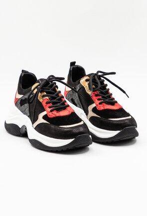 Pantofi sport negri din piele cu detalii rosii