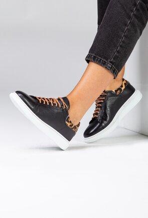 Pantofi sport negri din piele cu detaliu animal print