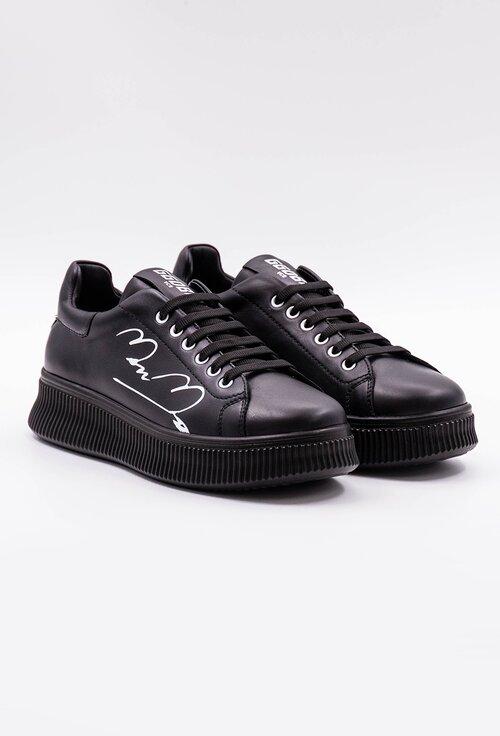 Pantofi sport negri din piele cu detaliu scris