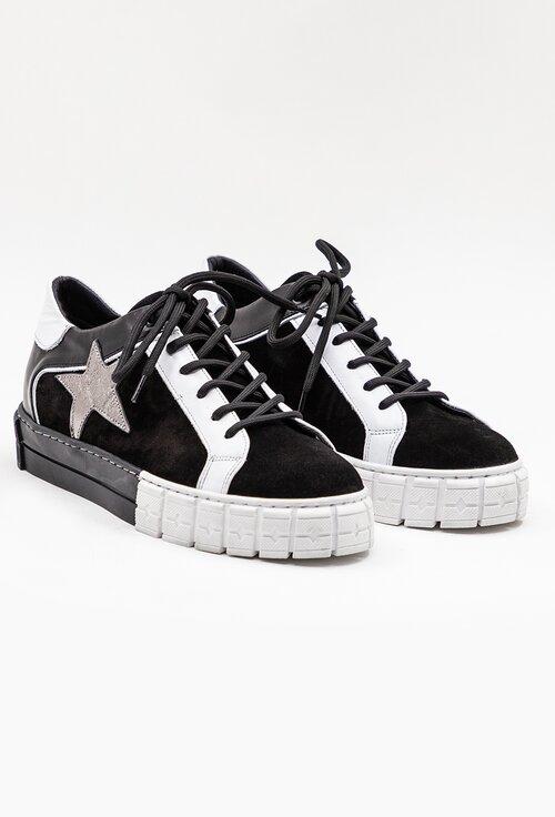 Pantofi sport negri din piele intoarsa cu detaliu stea