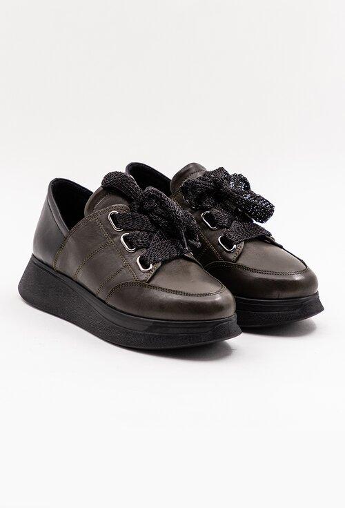 Pantofi sport negri din piele naturala box