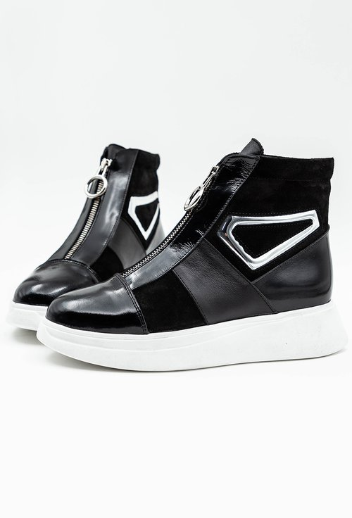 Pantofi sport negri din piele naturala cu fermoar in partea din fata