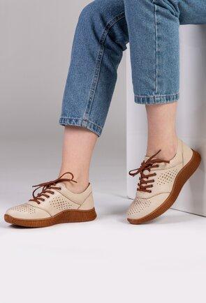 Pantofi sport nuanta bej deschis din piele naturala