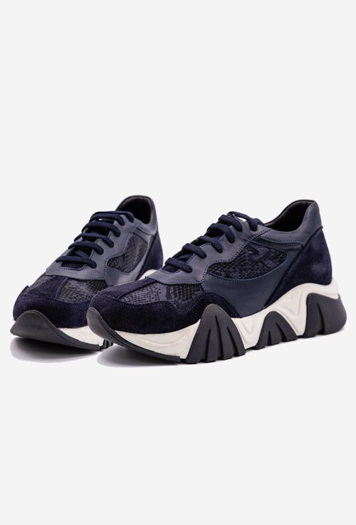 Pantofi sport nuanta navy din piele naturala