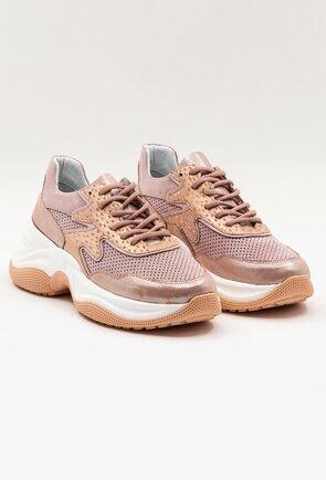 Pantofi sport nuanta roz pal din piele naturala intoarsa