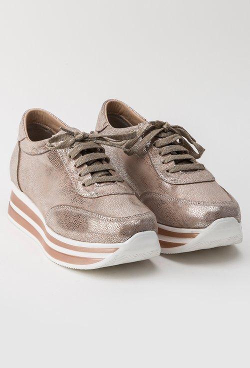 Pantofi sport nude metalizat din piele naturala Claris