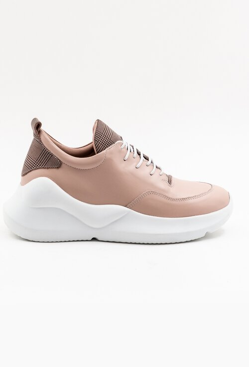 Pantofi sport roz pal din piele cu detalii carouri