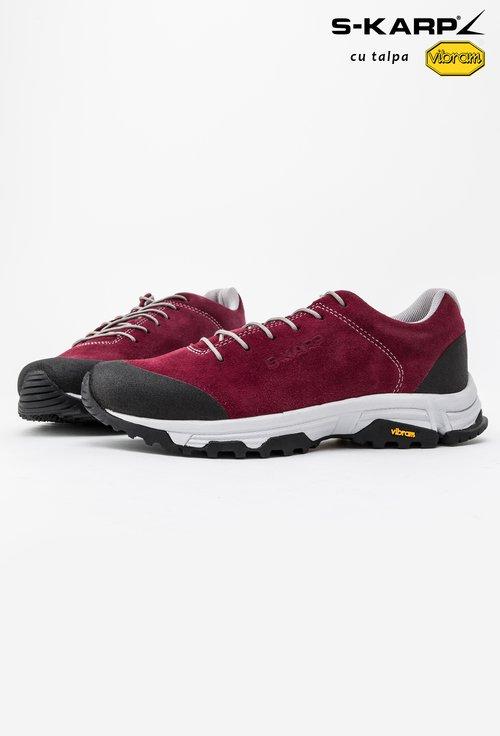 Pantofi sport S-Karp bordo din piele naturala intoarsa Travel