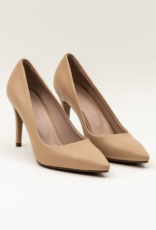 Pantofi stiletto bej din piele naturala