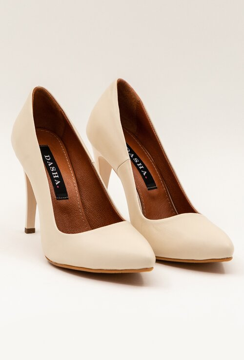 Pantofi stiletto nuanta alb-nude din piele naturala