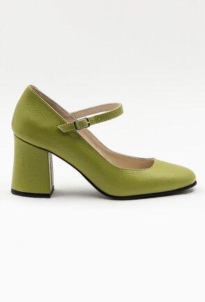 Pantofi verzi din piele naturala cu bareta