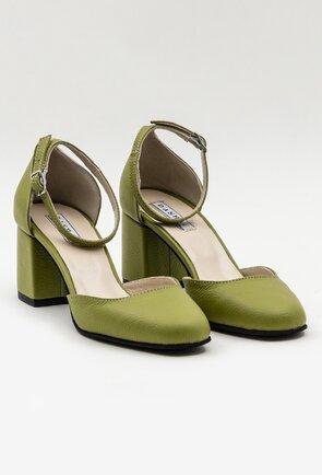 Pantofi verzi din piele naturala cu toc patrat