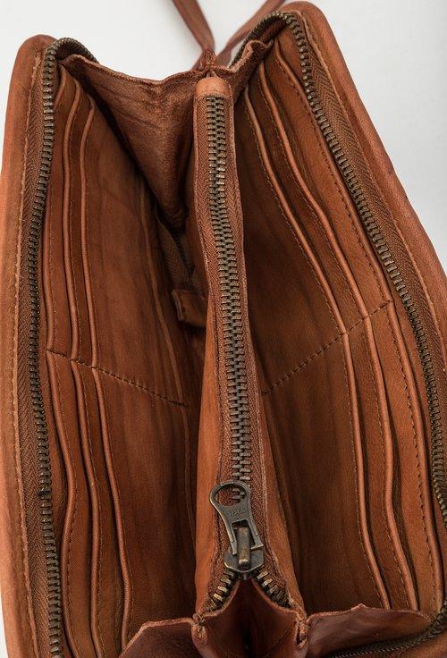 Portofel nuanta cognac din piele naturala design impletit 145033