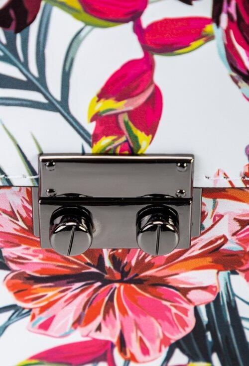 Poseta alba din piele cu imprimeu cu pasari roz