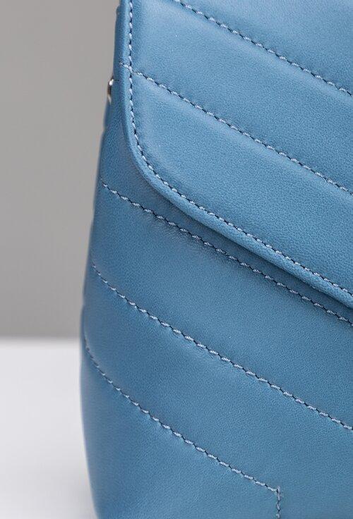 Poseta bleu din piele naturala cu maner