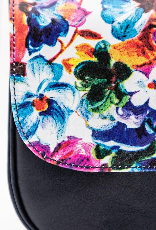 Poseta bleumarin din piele naturala cu imprimeu floral