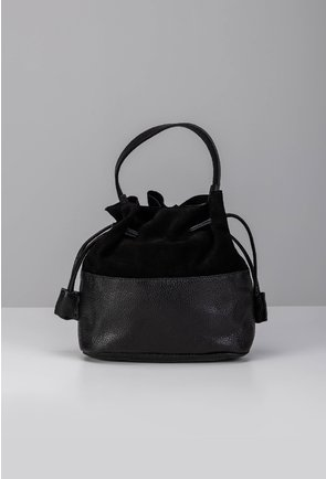 Poseta neagra tip sac din piele naturala intoarsa si box