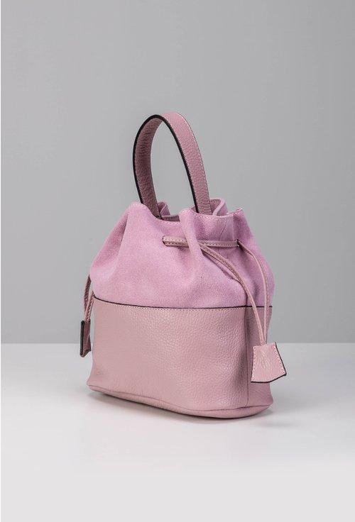 Poseta roz lila tip sac din piele naturala intoarsa si box