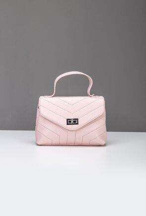 Poseta roz pudra din piele naturala cu maner