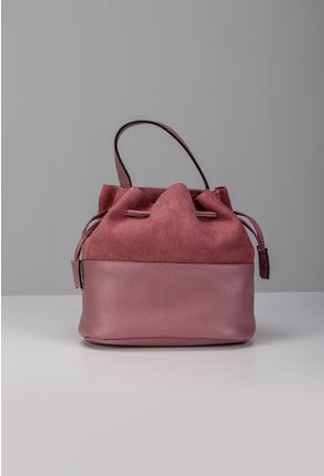 Poseta roz tip sac din piele naturala intoarsa si box