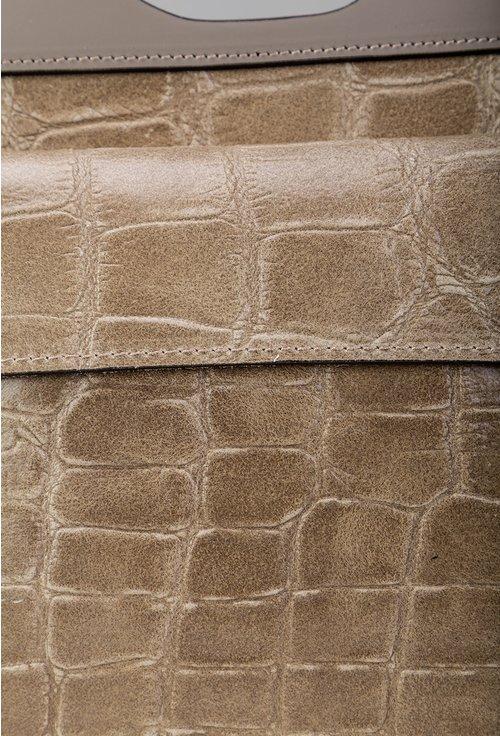 Poseta taupe din piele cu textura tip piele de crocodil