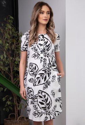 Rochie alba confectionata din in cu imprimeu vegetal