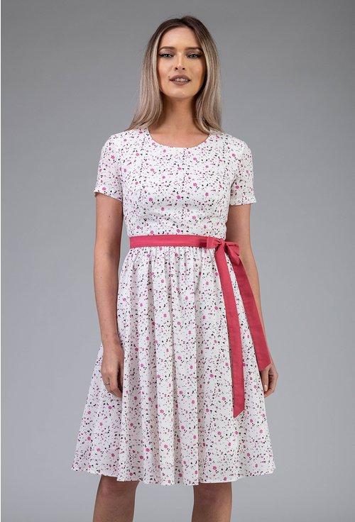 Rochie alba cu floricele mici si cordon roz