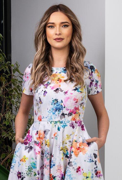 Rochie alba din bumbac cu imprimeu floral