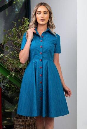 Rochie albastra cu buline mici roz