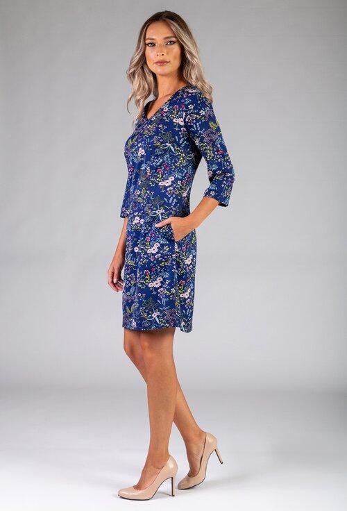 Rochie albastra cu buzunare