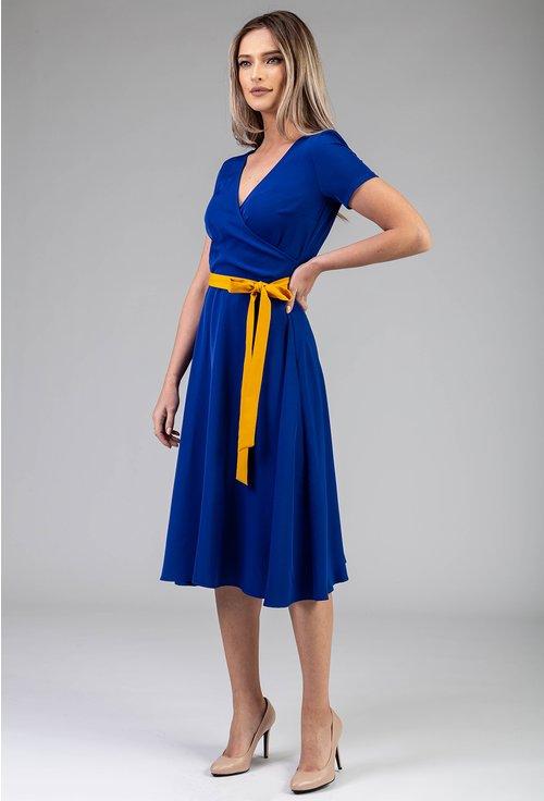 Rochie albastra cu cordon galben