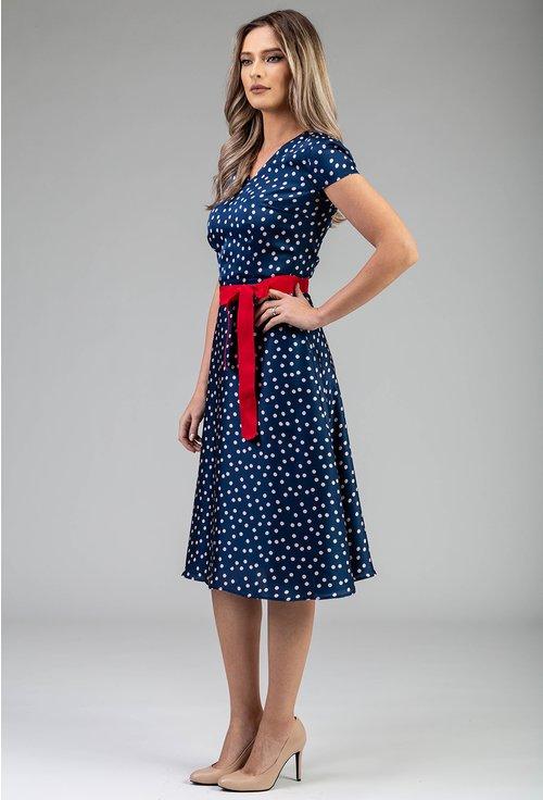 Rochie albastra cu imprimeu cu buline