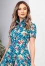 Rochie albastra cu imprimeu floral si buzunare