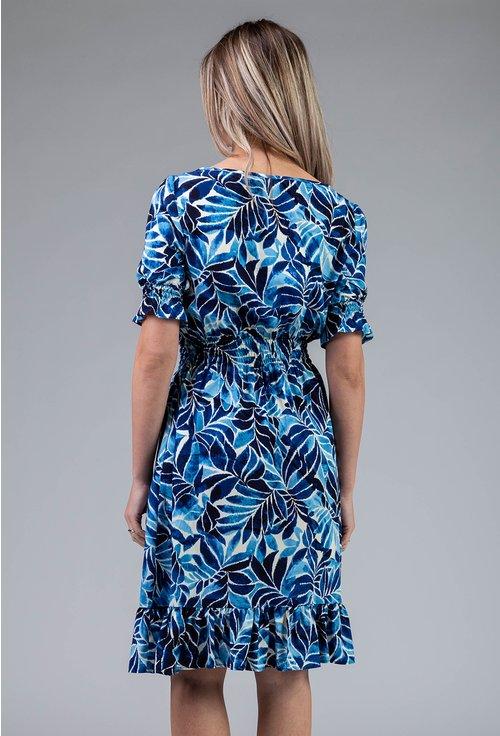 Rochie albastra cu imprimeu floral si volane