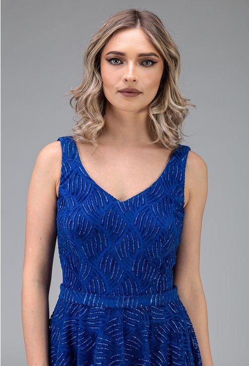 Rochie albastra cu insertii sclipitoare