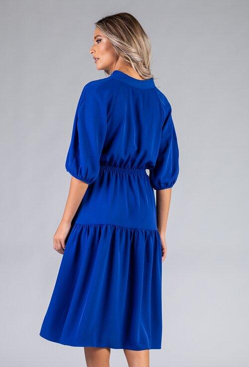 Rochie albastra cu maneci bufante