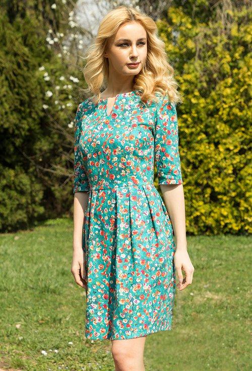 Rochie albastra din bumbac cu imprimeu floral Jennifer