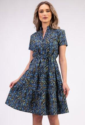 Rochie albastra din bumbac imprimat