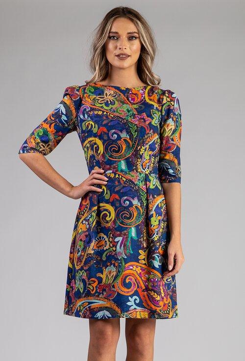 Rochie albastra din bumbac organic cu imprimeu abstract