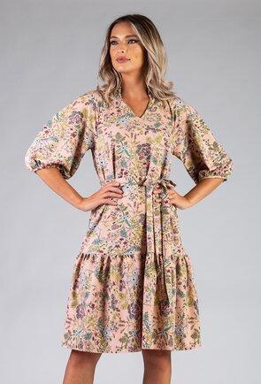 Rochie ampla cu imprimeu floral si maneca bufanta