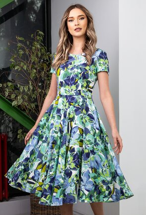 Rochie ampla in nuante de verde si albastru
