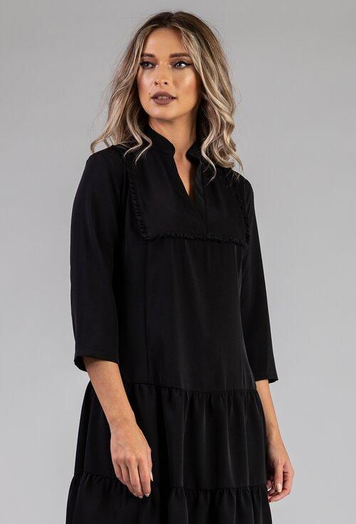Rochie ampla neagra cu detalii deosebite