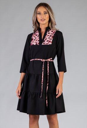 Rochie ampla neagra cu volane