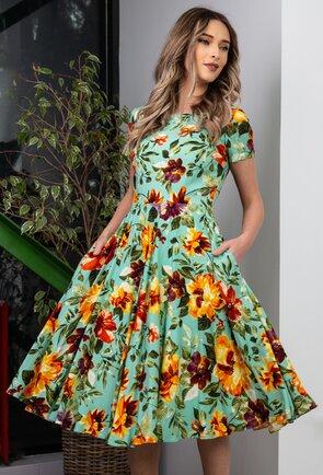 Rochie ampla nuanta turcoaz cu imprimeu floral